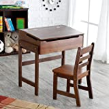 Lipper International Childs Slanted Top Desk and Chair, Walnut