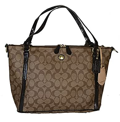 Coach 27020 Khaki & Mahogany Peyton Coated Canvas East West Shoulder Bag