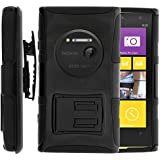 Nokia Lumia 1020 Case, Nokia Lumia 1020 Holster, Two Layer Hybrid Armor Hard Cover with Built in Kickstand for Nokia Lumia 1020 (AT&T) from MINITURTLE   Includes Screen Protector - Black