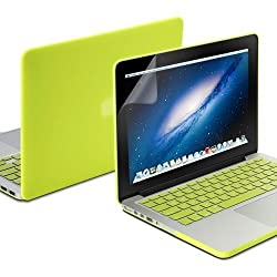 GMYLE(R) Neon Yellow 3 in 1 Rubberized (Rubber Coated) Hard Case Cover - Silicon Keyboard Protector - Clear LCD Screen Protector - for 13 Retina MacBook Pro
