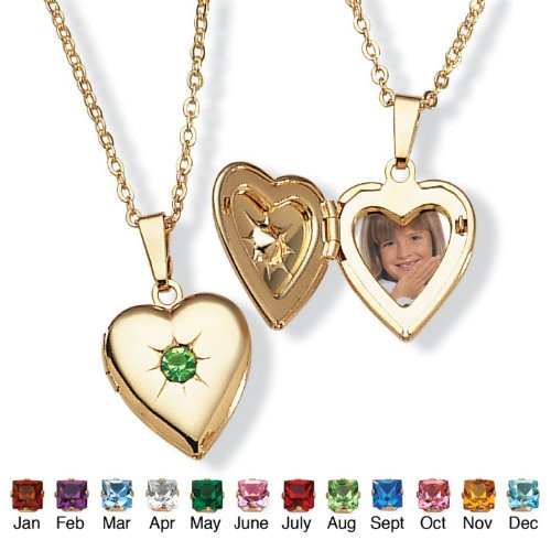 PalmBeach Jewelry Goldtone Birthstones Simulated Heart Locket- August- Simulated Peridot