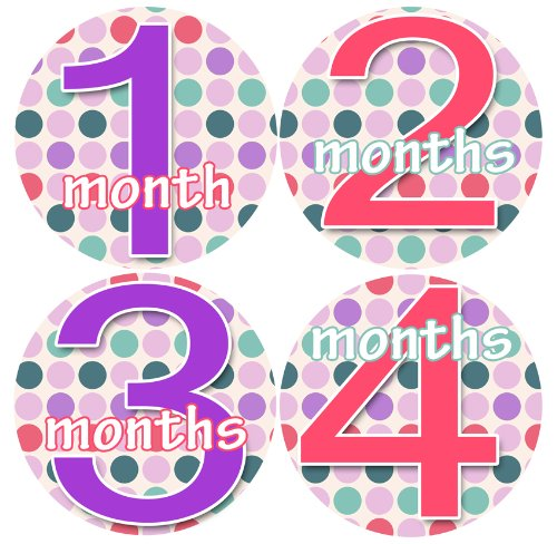 JOLLIE DOTTIE Polka Dots Baby Month By Month Stickers - Baby Month Onesie Stickers Baby Shower Gift Photo Shower Stickers