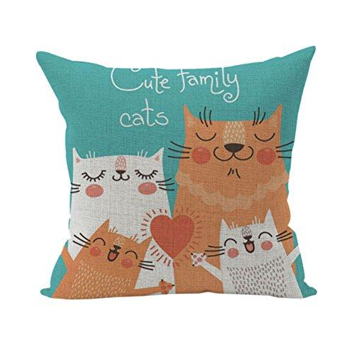 Nunubee Süße Tiere Geschenk Kissenbezug Dekoration Kissen accessory für Haus und Auto 4 Katzen