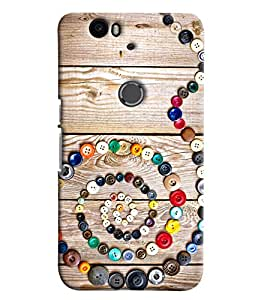 Blue Throat Snake Made Of Buttons Printed Designer Back Cover For Huawei Nexus 6P