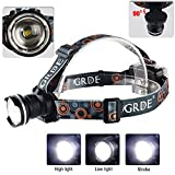 Outdoor High Brightness 3 Modes CREE XM-L T6 Zoomable LED Headlamp Camping Hiking Headlight (Black)