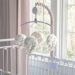 Carousel Designs Pale Pink and Gold Chevron Musical Mobile