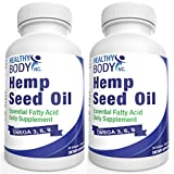 (2 Bottles) Hemp seed Oil SoftGels Hemp oil 1000 mg with Omega 3-6-9 No worry of mecury from fish oil Cold pressed premium Hemp Oil