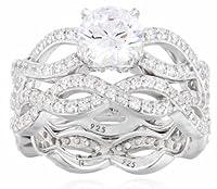 Sterling Silver Swarovski Zirconia Round Cut Bridal Wedding Ring Set by Elite Group International NY Inc.- ACC