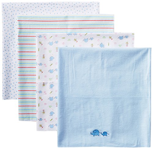 Spasilk Baby-Boy Newborn 4 Pack Flannel Receiving Blanket, Blue Elephant, 30 Inchx30 Inch