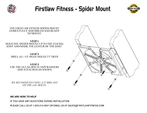 Firstlaw Fitness Spider Mount - Heavy Punching Bag Hanger - For Heavy Bags up to 140 LBS - Made in the USA