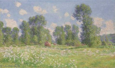 Oil Painting 'Claude Monet - Spring Effect At Giverny, 1890' 8 x 14 inch / 20 x 34 cm , on High Definition HD canvas prints is for Gifts And Bath Room, Dining Room And Home Office Decoration