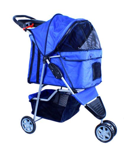 New Deluxe Folding 3 Wheel Pet Dog Cat Stroller Carrier W Cup Holder Tray - Blue front-1033669