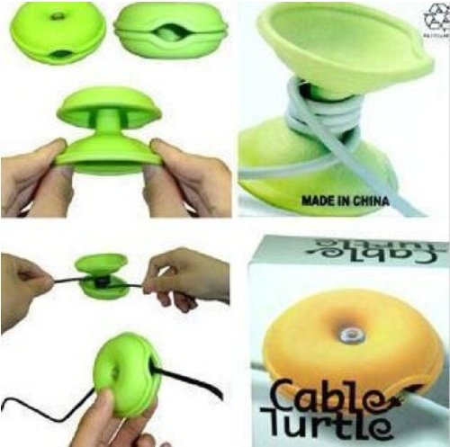 2X Middle Size Sea Turtle Router Hub Wire Organizer Earphone Headphone Cord Holder(Random Color)