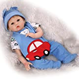 NPKDOLL 22inch renacer de la muñeca de silicona suave Simulación de vinilo 55cm magnética Boca realista juguete lindo coche de los niños rojo azul con acrílico Ojos Reborn Doll A1ES