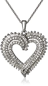 Sterling Silver Diamond Double Heart Pendant Necklace (1/2 cttw, J-K Clarity, I2-I3 Color), 18""