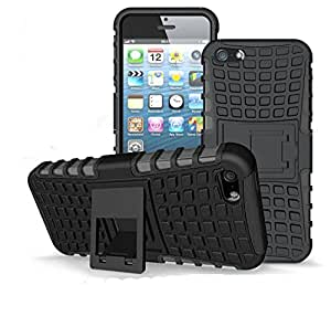 Shock Absorbing Dual Layer Hybrid Holster Cover Kickstand Case for iPhone 5 in Black Colour