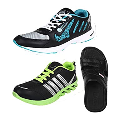 Earton COMBO Pack of 3 Pair of Shoes Multicolor Sports Shoes With Sandals