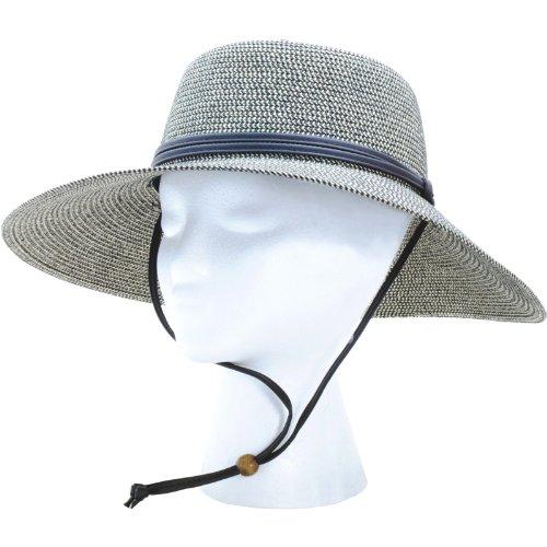 Sloggers Original Women's Wide Brim Braided Hat with wind lanyard, Sage, Wo's Size Medium, Style 442SG-UPF 50+