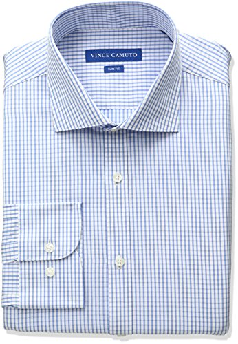 Vince Camuto Men's Slim Fit Dress Shirt, Blue/White Check, 16