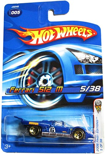 Hot Wheels 2006-005 First Editions 5/38 BLUE Ferrari 512 M 1:64 Scale GOLD 5SP Wheels