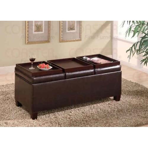 Coaster Storage Ottoman Coffee Table With Trays Brown Vinyl Furniture With
