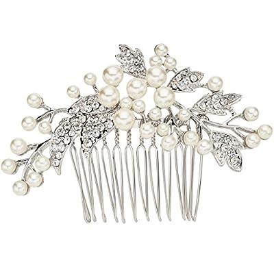 EVER FAITH® Silver-Tone Austrian Crystal Cream Simulated Pearl Floral Leaf Branch Wedding Hair Comb