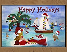 Christmas Area Rugs Floor Mats (Seaside Christmas Parade, 36 x 60)