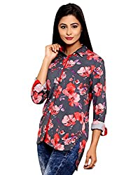 AVNIKA Women's Shirt (AVN21_Grey Red_Large)