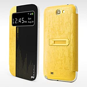 Case Cover With Stand Function For Samsung Galaxy Note 2 N7100 Yellow