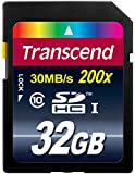 Transcend 32 GB Class 10 SDHC Flash Memory Card (TS32GSDHC10E)