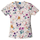 Cherokee 4856 Women's Scrub HQ V-Neck Print Scrub Top