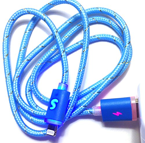 Josi Minea® Premium 3Ft / 1M Led Fabric Braided Nylon Light Up 8 Pin Lightning Sync Data Charger Usb Cable With Blinking Colorful Rainbow Led Connectors For Apple Iphone 5 / 5S / 5C & Ipad With Retina Display / Air / Mini / Ipad 4 Ipod Touch (Turquoise Bl