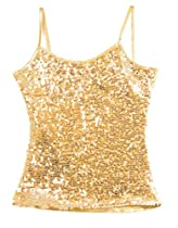 Sequin Dance Camisole Top in Shimmery Gold Medium Child