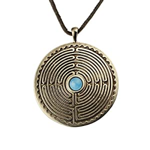 Labyrinth Peace Bronze Pendant Necklace with 6mm Smithsonite Gemstone on Adjustale Natural Fiber Cord