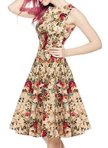 OWIN Women's Vintage 1950's Floral Spring Garden Picnic Dress Party Cocktail Dress 3