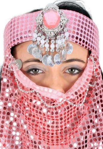 Turkish Belly Dance Tiara with Face Veil Cap Hat Headwear HeadPiece