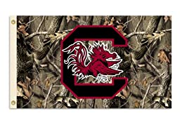 NCAA South Carolina Fighting Gamecocks 3-by-5 Foot Flag with Grommets - Realtree Camo Background