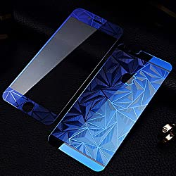 Premium 3D Diamond Pattern Mirror Front + Back Tempered Glass Screen Protector for Apple Iphone 6/6S - BLUE