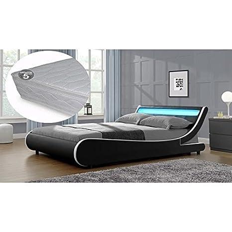 Cama Saturno 140x 190cm blanco y negro a LED con colchón