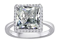 Star K Square Cut White Topaz Halo Engagement Ring by Star K