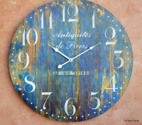 23 Large Antiquites De Paris Wall Clock ~ French Blue Finish