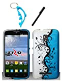 img - for 3 Items Combo For Alcatel One Touch Pop Mega LTE A995L (Straight Talk) Blue Silver Vines 2D Design Hard Case Snap On Protector Cover + Free Stylus Pen + Free Alloy Beer Bottle Opener Dolphin Keychain book / textbook / text book