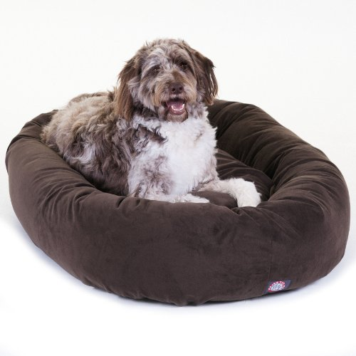 52-inch-Chocolate-Suede-Bagel-Dog-Bed-By-Majestic-Pet-Products