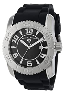"Swiss Legend Men's 20068-01SET ""Commander"" Stainless Steel, Black Silicone, and Black Dial Watch Set"