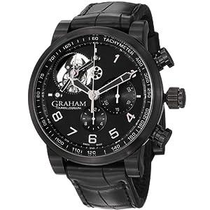 Graham Silverstone Tourbilliograph Automatic Black Dial Black Leather Mens Watch 2TSABB02A