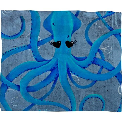 Deny Designs Mandy Hazell You Make Me Squidish Fleece Throw Blanket, 80-Inch By 60-Inch front-920049