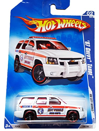 HOT WHEELS 2009 HW CITY WORKS 02/10 WHITE '07 CHEVY TAHOE FIRE DEPT. RECUE TRUCK 108/190 - 1