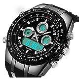 BINZI Big Face Sports Watch for Men, Waterproof Military Wrist Digital Watch in Black Silicone Band