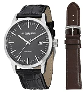 Stuhrling Original Men's 555A.02 Classic Ascot II  Swiss Quartz Date Grey Dial Strap Set Watch