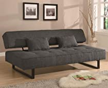 Big Sale Armless Sofa Bed with Accent Pillows in Dark Grey Fabric